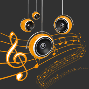 Hängende Lautsprecher. Dahinter ein Violinschlüssel mit geschwungenen Linien und darauf geschriebenen Noten.