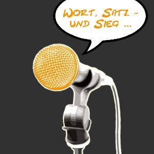 Ein Mikrofon befestigt an einem Mikrofonstativ. Dazu eine Sprechblase mit dem Text Wort, Satz und Sieg.